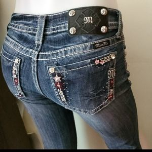 MISS ME embroidered star cuffed capris JP5843P